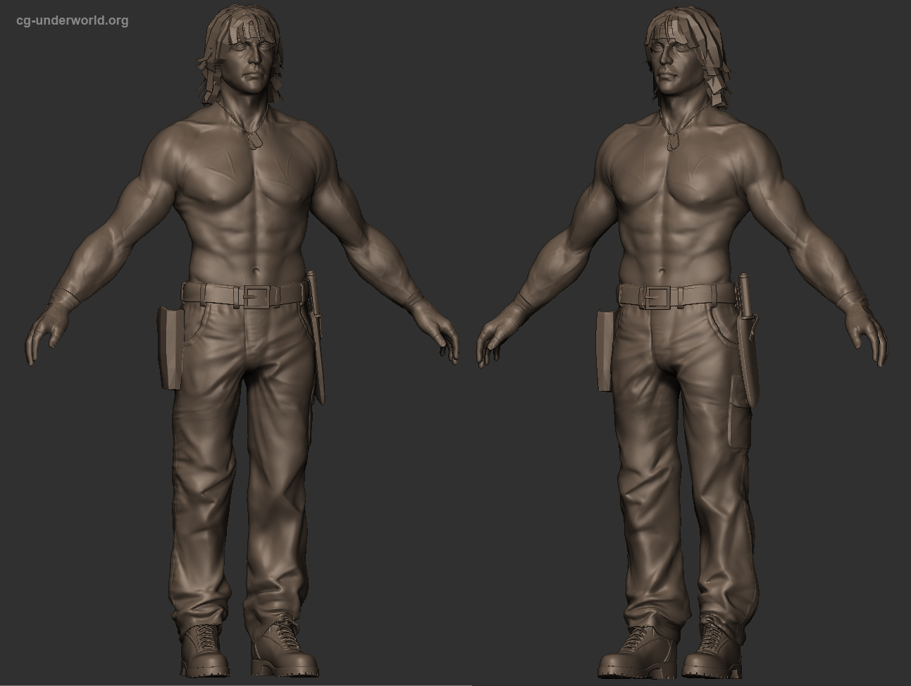 Sylvester Stallone - Rambo - Left 4 Dead game character WIP