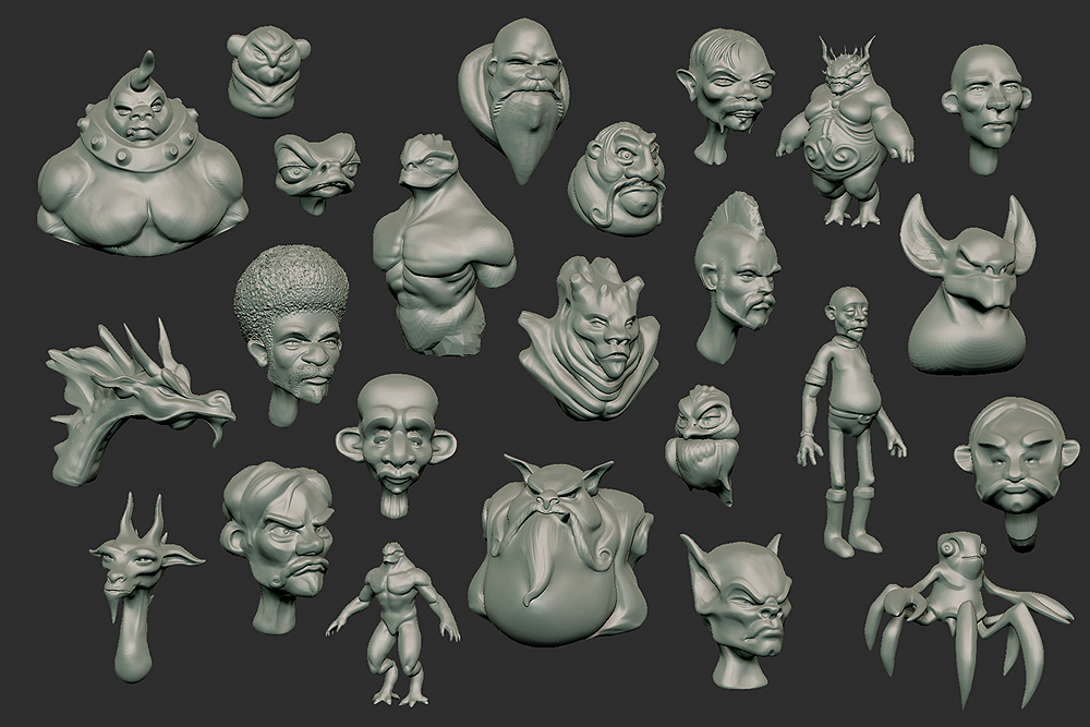 zbrush sculpts wip mostly from sphere.jpg
