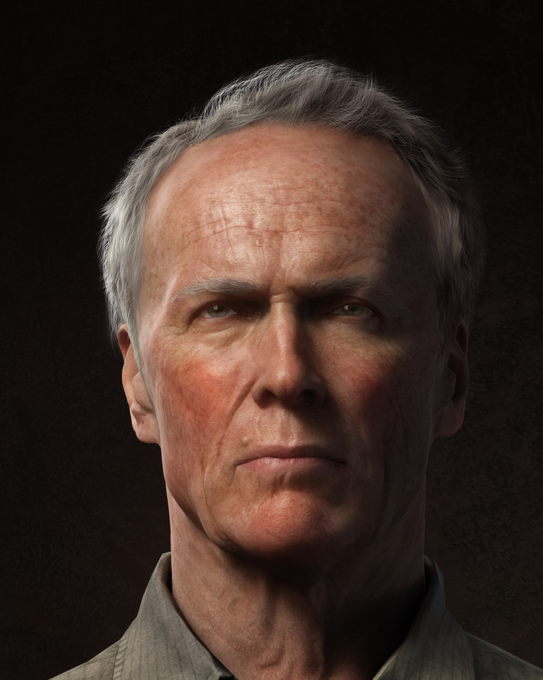 Dark And Light Portrait Of Clint Eastwood