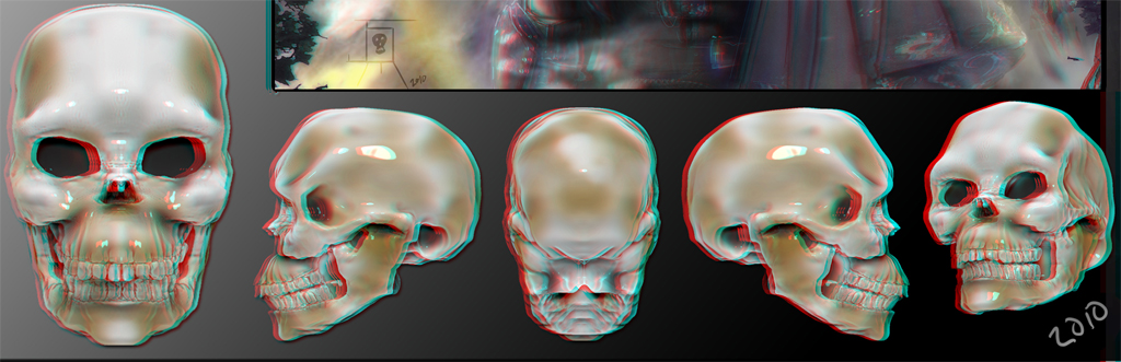 Learning zbrush and turning into a 3d anaglyph image in photoshop