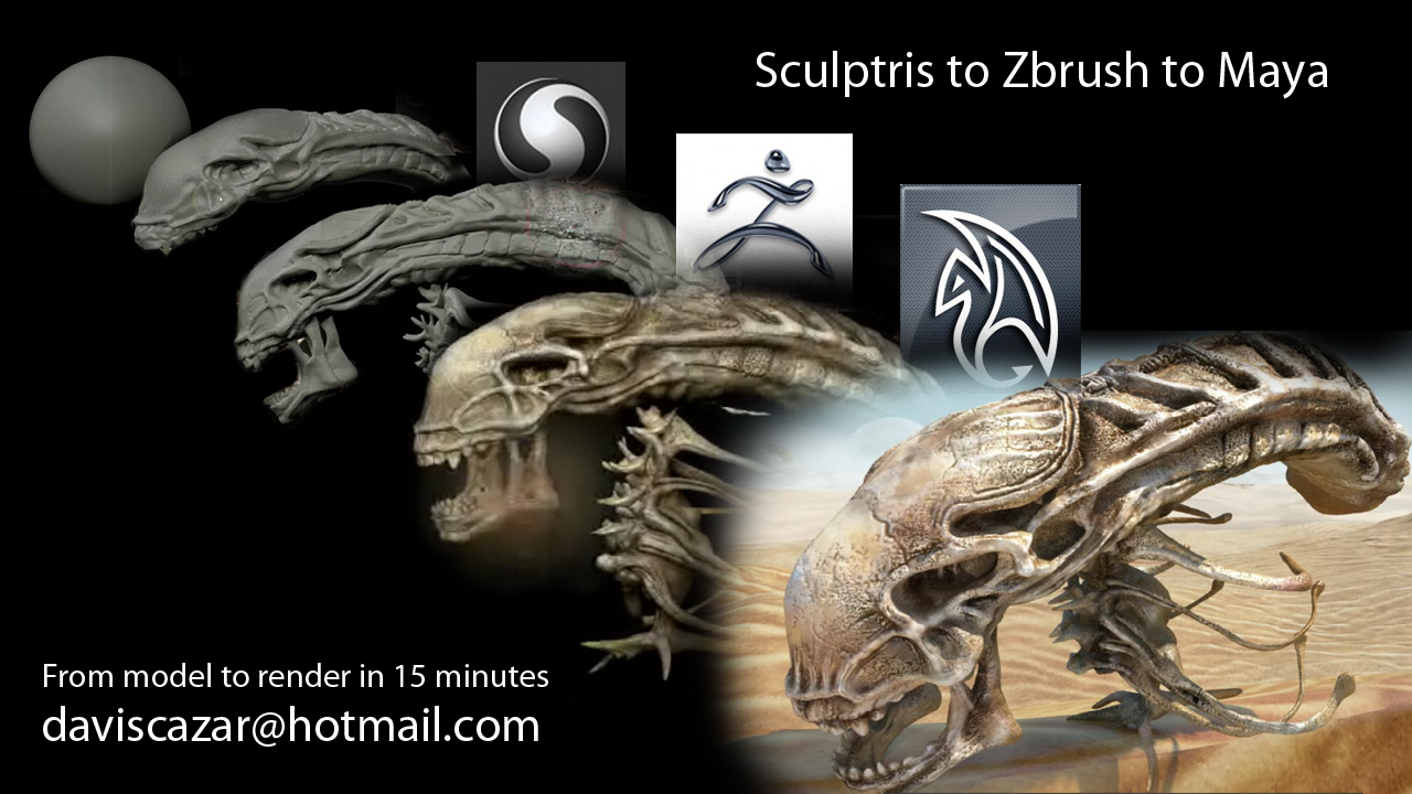 to sculptris to zbrush to maya:, from model to render in 15