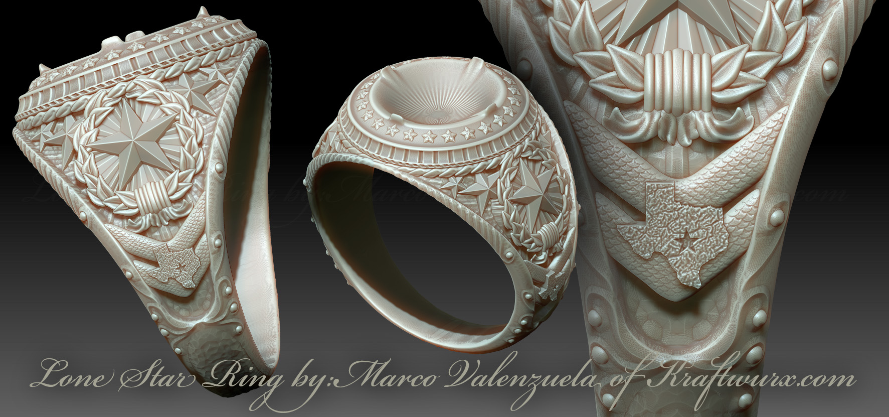 Lone star ring for 3d printing jewelry for 3d wax printer for jewelry