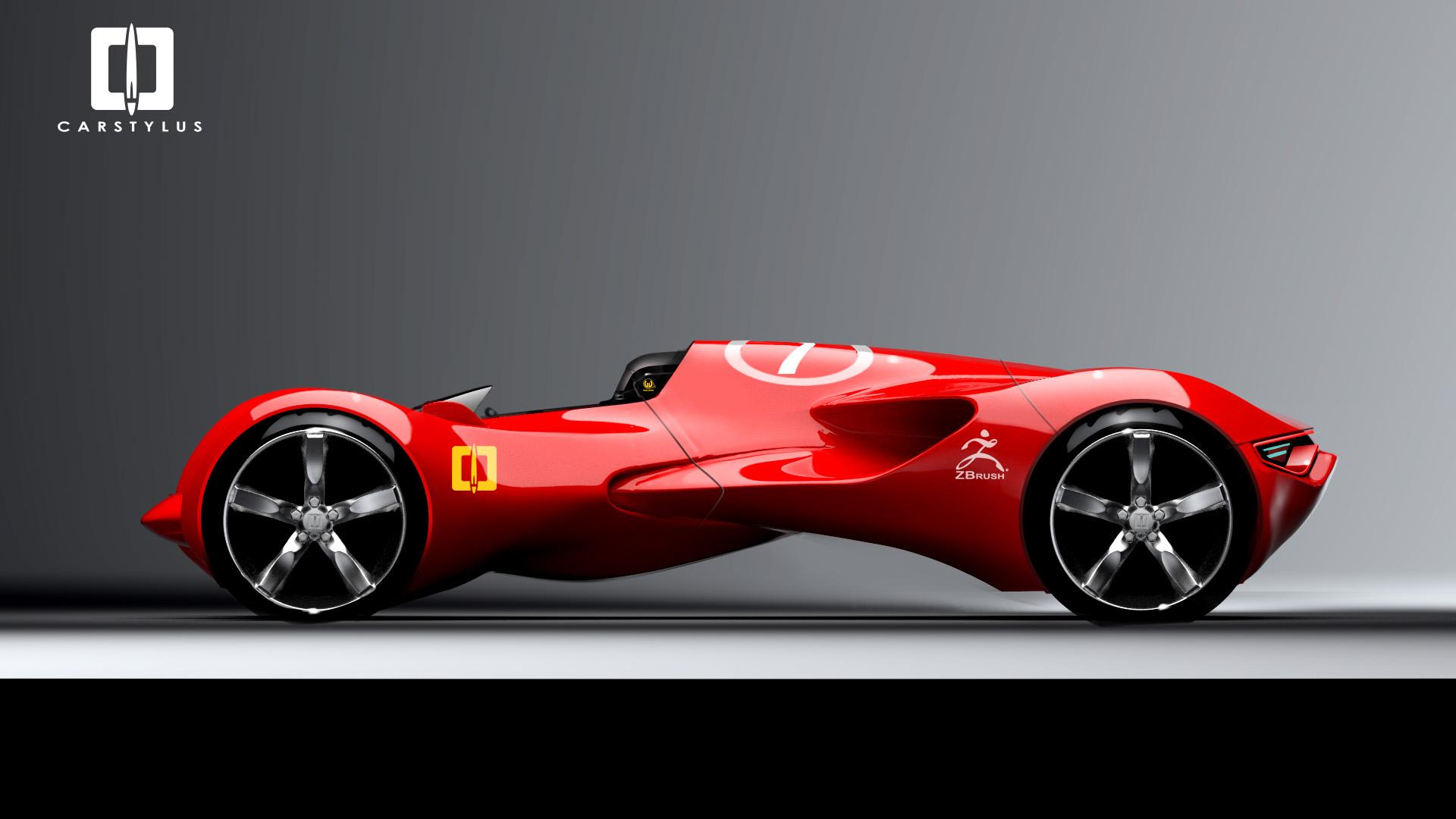 single seat racecar sketch