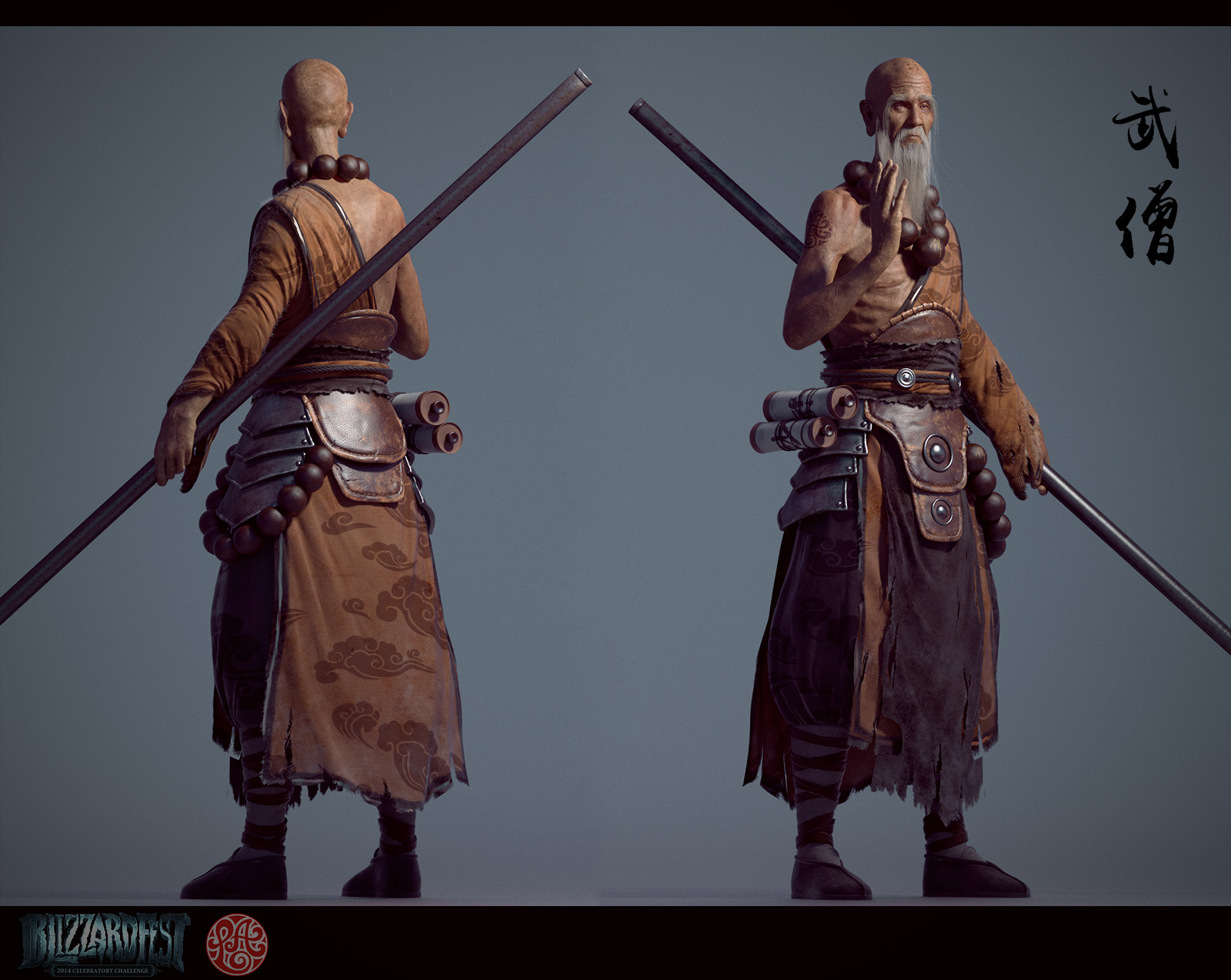 Character Concept Design Maya And Vray : Old monk