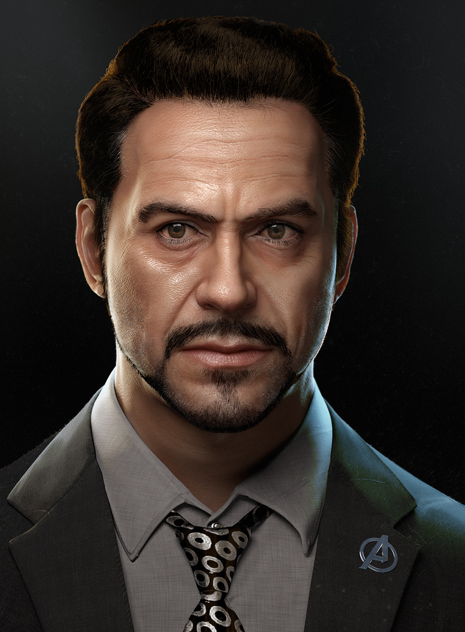 Tony stark 3d illustra...