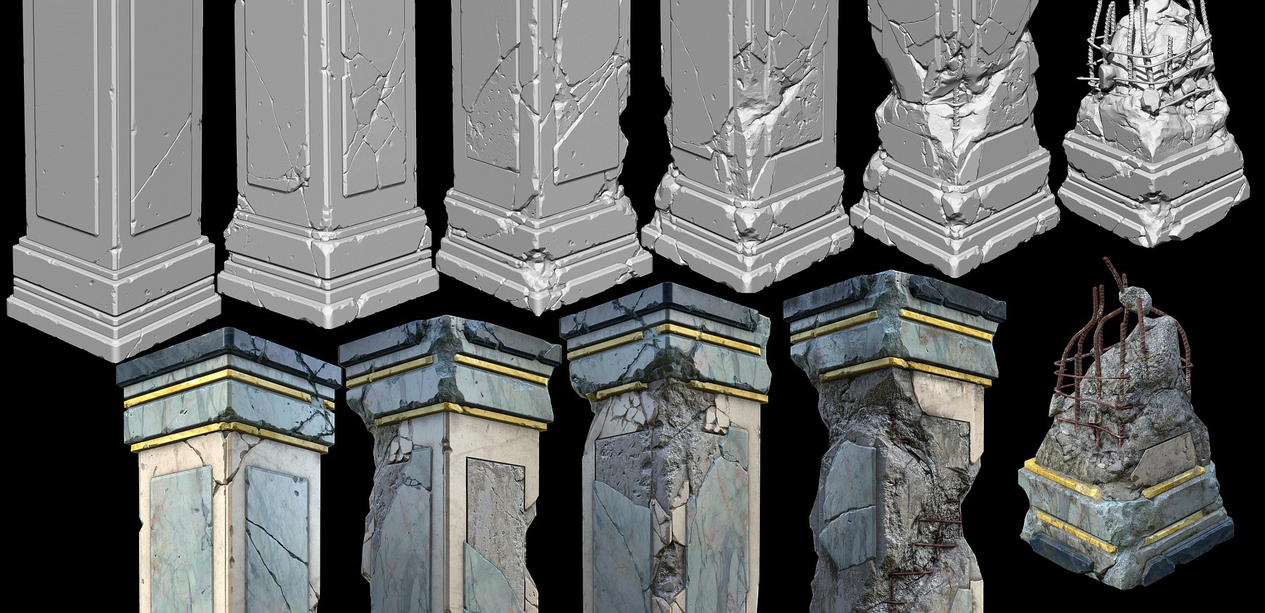 Broken Stone Pillar : Damaged marble pillars including resources zbrushes
