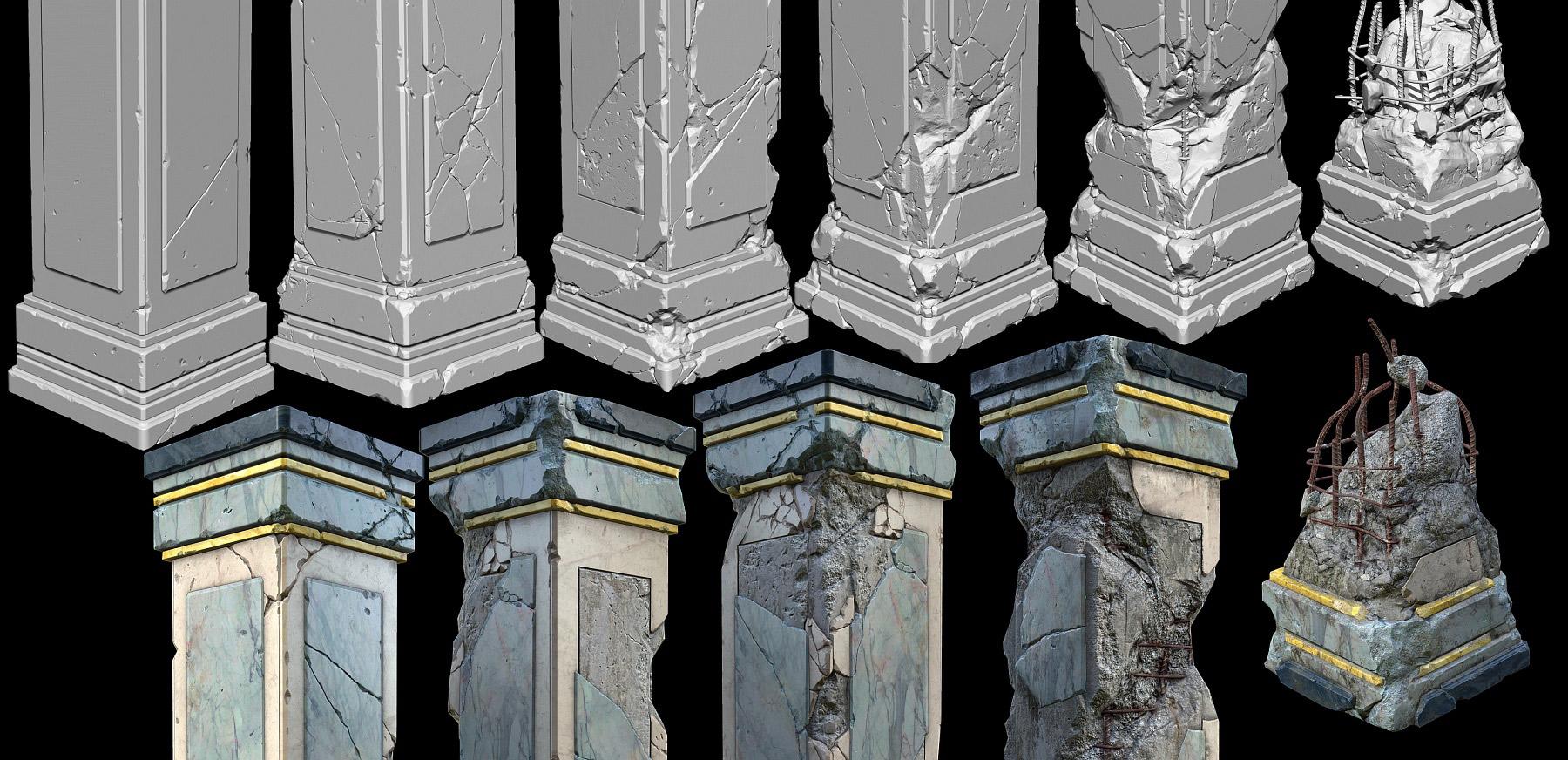 Broken Stone Pillar : Damaged marble pillars including resources zbrushes