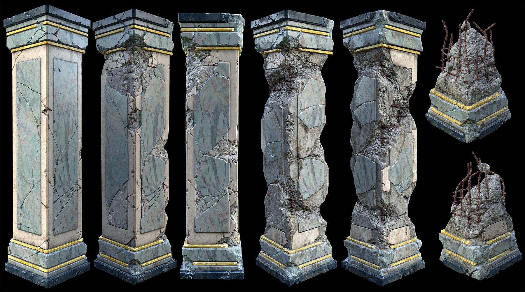 damaged marble pillars including resources zbrushes ztools ingame