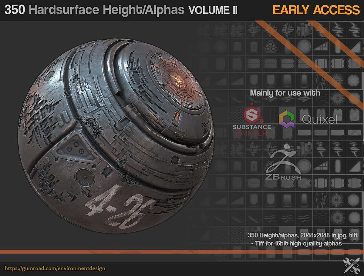 350 Hardsurface Alpha/Height maps [Early release]