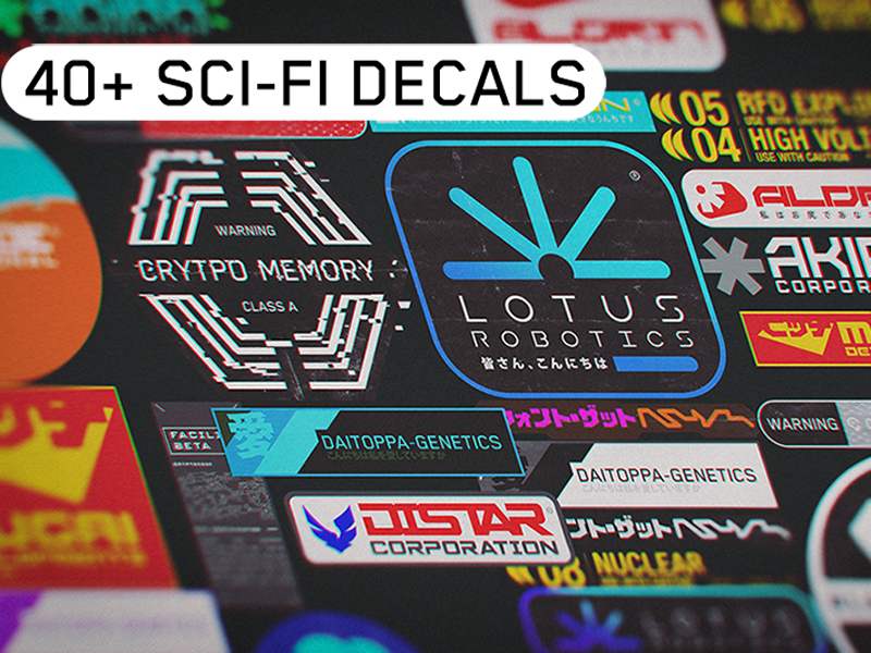 40+ sci-fi decals for your 3D project