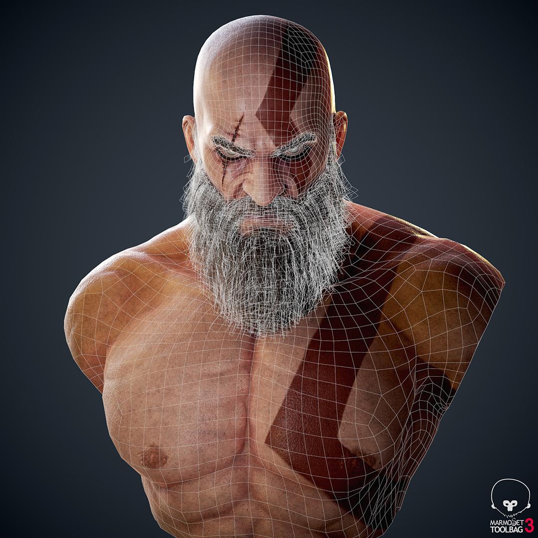 God Of War Fan Art Kratos Bust Breakdown